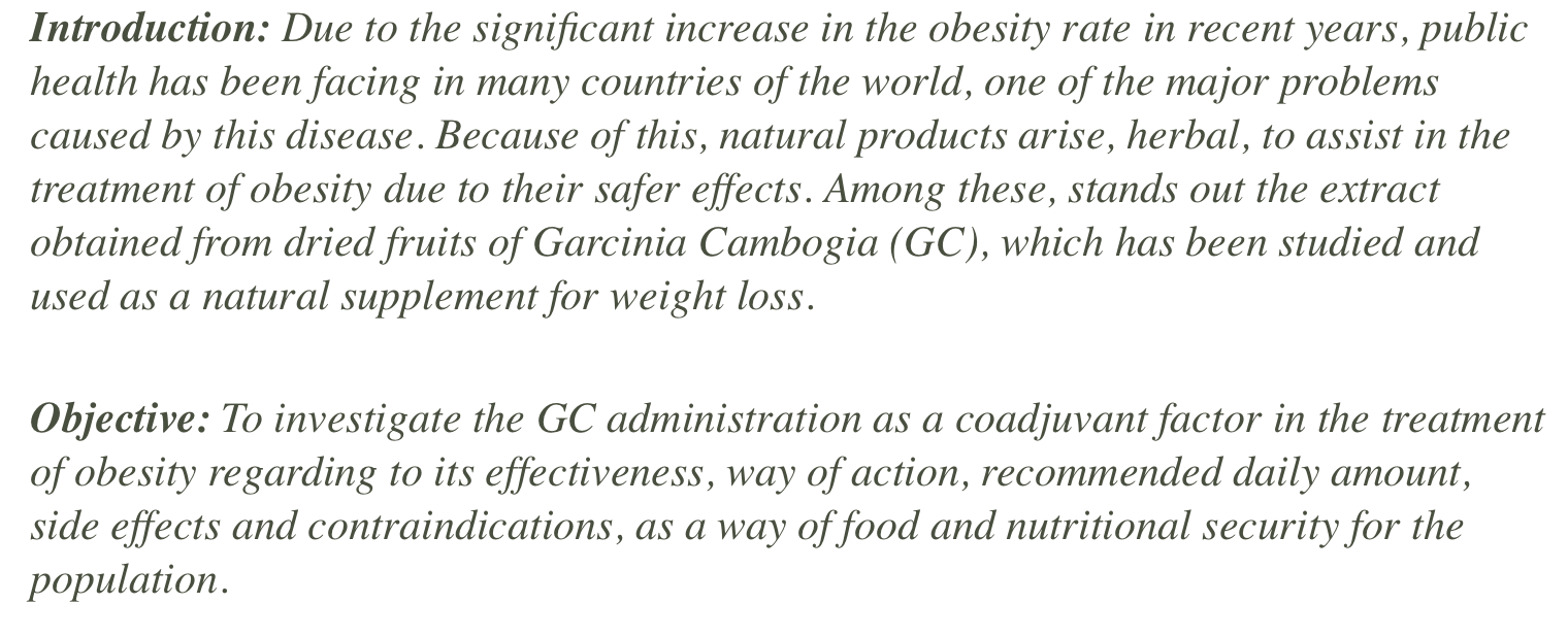 The effect of Garcinia Cambogia as coadjuvant in the weight loss process